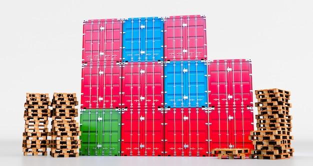 Rappresentazione 3d del contenitore di carico isolata su fondo bianco. scatola per container da nave cargo cargo per importazione ed esportazione, spedizione pallet