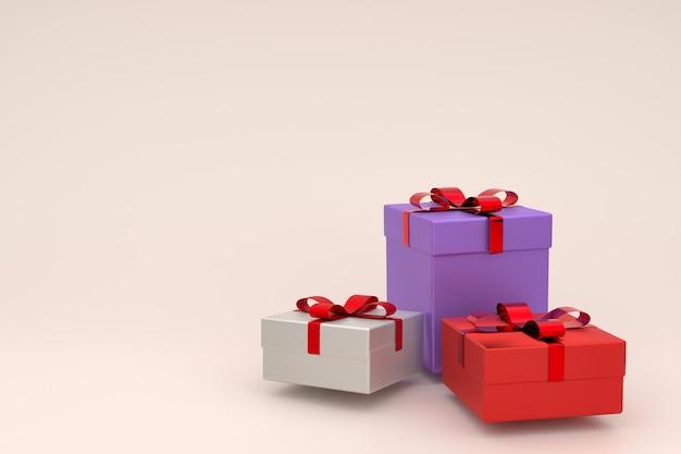 Rappresentazione 3d del contenitore di regalo bianco, rosso e viola realistico con l'arco del nastro. copyspace vuoto per la festa, promozione banner social media, poster. scatole presenti in colori pastello