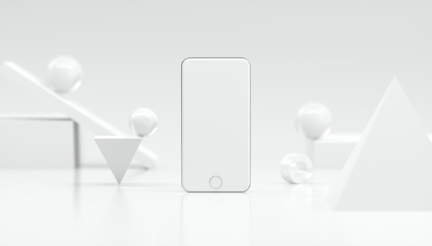 Rappresentazione 3d del modello bianco bello dello smartphone per la pubblicità