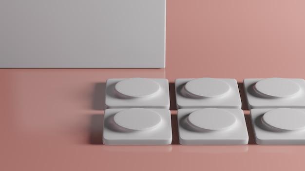 Rappresentazione 3d del piedistallo del quadrato bianco su fondo rosa, concetto minimo astratto, minimalista di lusso