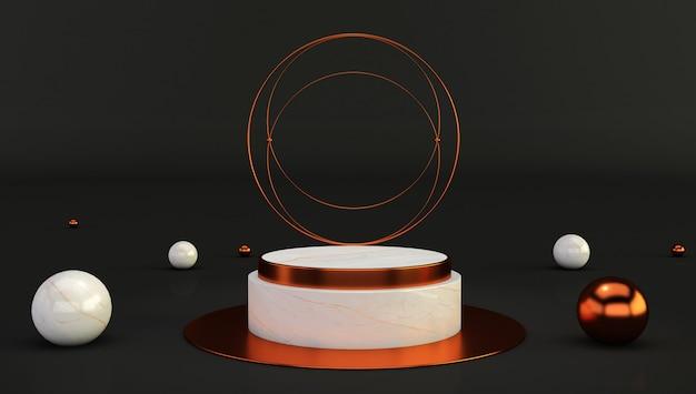 Rappresentazione 3d del piedistallo di marmo bianco isolato su fondo nero, modello minimalista di lusso