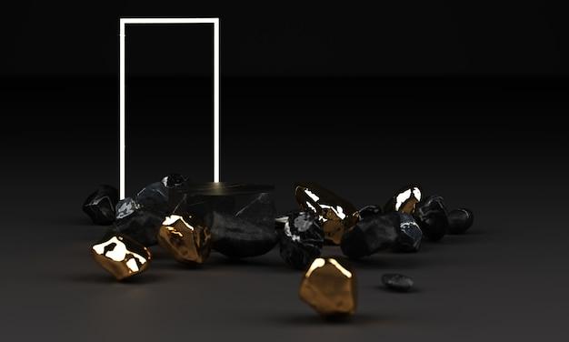 Rappresentazione 3d del piedistallo di marmo nero isolato sul nero con la struttura di illuminazione principale e il concetto minimo dell'estratto della roccia a mano libera