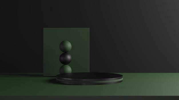 Rappresentazione 3d del piedistallo verde nero e scuro su fondo nero, concetto minimo astratto, spazio, minimalista di lusso