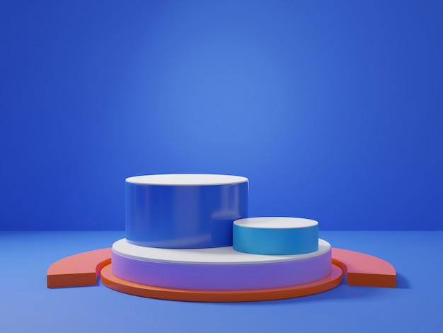 Rappresentazione 3d del podio blu classico del piedistallo su chiaramente fondo, spazio minimo astratto del podio per il prodotto cosmetico di bellezza