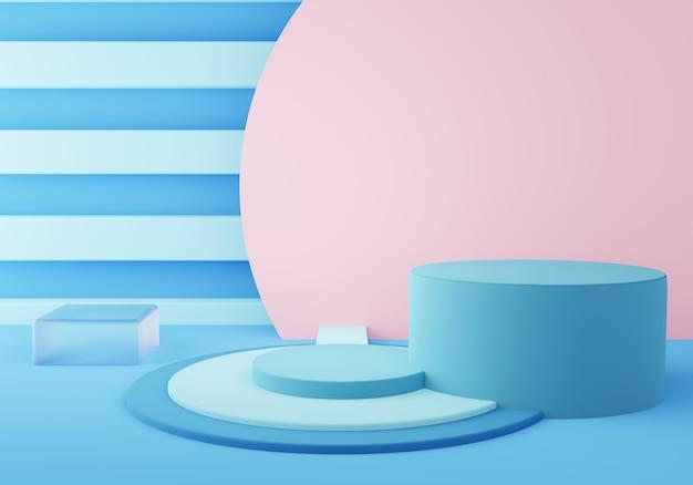 Rappresentazione 3d del podio blu vuoto geometrico astratto del cilindro. concetto minimale.
