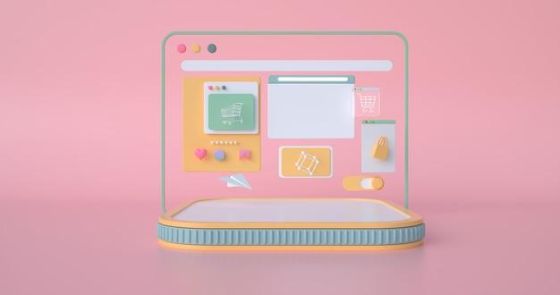 Rappresentazione 3d del podio e delle icone di web.