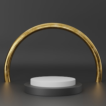 Rappresentazione 3d del podio nero del piedistallo dell'oro su chiaramente fondo, spazio in bianco minimo astratto del podio per il prodotto cosmetico di bellezza,