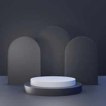 Rappresentazione 3d del podio nero del piedistallo su fondo chiaramente, spazio in bianco minimo astratto del podio per il prodotto cosmetico di bellezza,