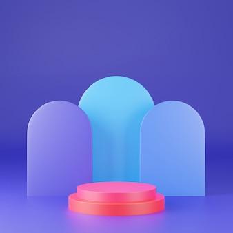 Rappresentazione 3d del podio variopinto del piedistallo su chiaramente fondo, spazio in bianco minimo astratto del podio per il prodotto cosmetico di bellezza,