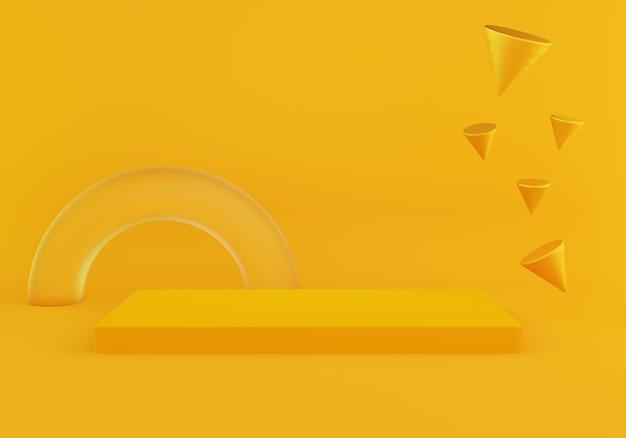 Rappresentazione 3d del podio vuoto di forma minima astratta della geometria su colore giallo.