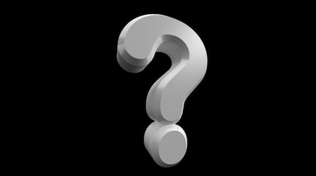 Rappresentazione 3d del punto interrogativo bianco isolato su fondo nero.