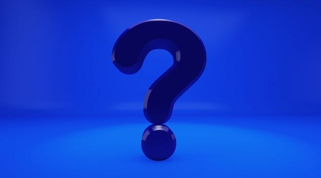 Rappresentazione 3d del punto interrogativo del bleu su fondo blu. esclamazione e punto interrogativo