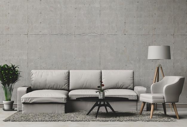Rappresentazione 3d del salone con il muro di cemento in casa moderna