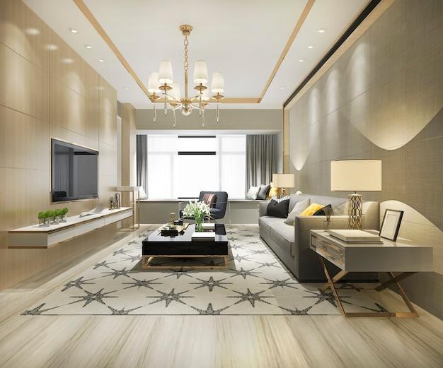 Rappresentazione 3d del salone moderno di lusso