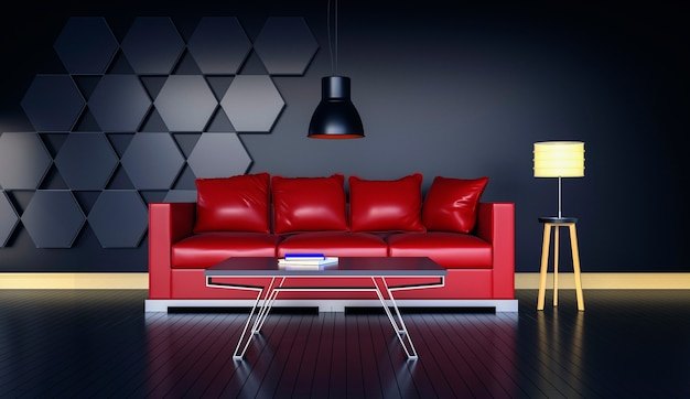 Rappresentazione 3d del salone moderno interno