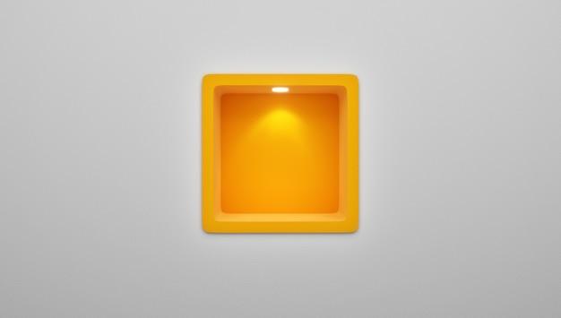 Rappresentazione 3d dell'esposizione arrotondata vuota dello scaffale della nicchia nella parete