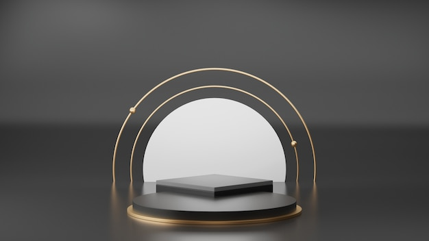 Rappresentazione 3d dell'esposizione nera e dorata del podio del piedistallo