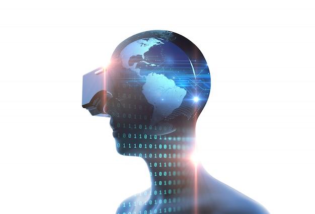 Rappresentazione 3d dell'essere umano virtuale in cuffia avricolare di vr sulla priorità bassa futuristica di tecnologia