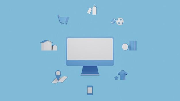 Rappresentazione 3d dell'icona per la compera nel tono e nel fondo blu, illustrazione 3d