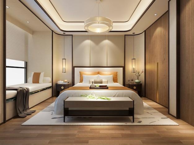 Rappresentazione 3d della camera da letto moderna di lusso della cucina