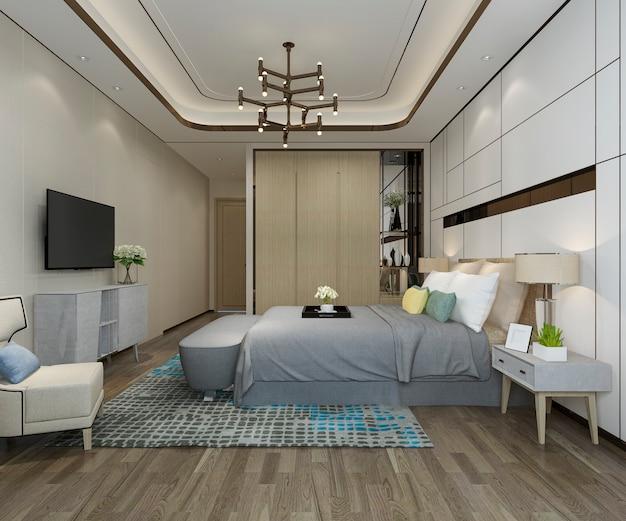 Rappresentazione 3d della camera da letto moderna di lusso