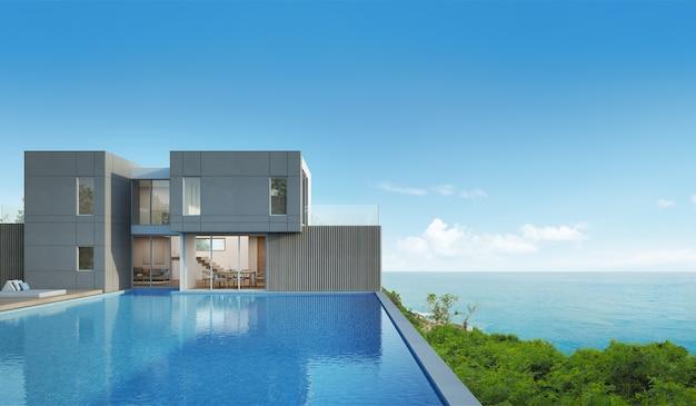 Rappresentazione 3d della casa di vista del mare con lo stagno in progettazione moderna.