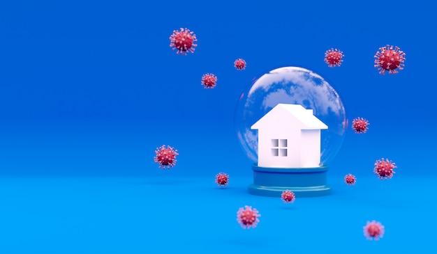 Rappresentazione 3d della casa e della molecola di coronavirus. campagna di sensibilizzazione sui social media e poster sulla prevenzione del coronavirus. resta a casa, stai al sicuro. illustrazione di prevenzione dalla polmonite virale