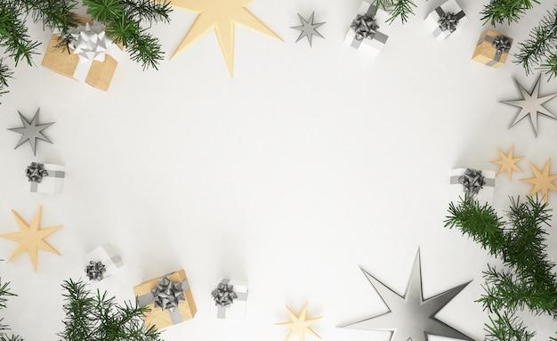 Rappresentazione 3d della composizione in natale: regali d'argento e dorati di natale, foglie del pino e stelle su fondo bianco di legno. vista piana, vista dall'alto