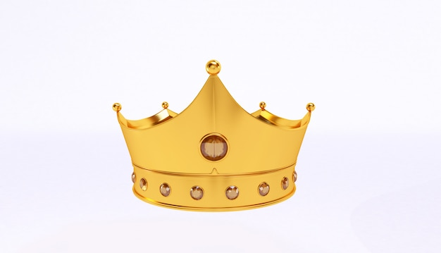 Rappresentazione 3d della corona dorata isolata su fondo bianco.