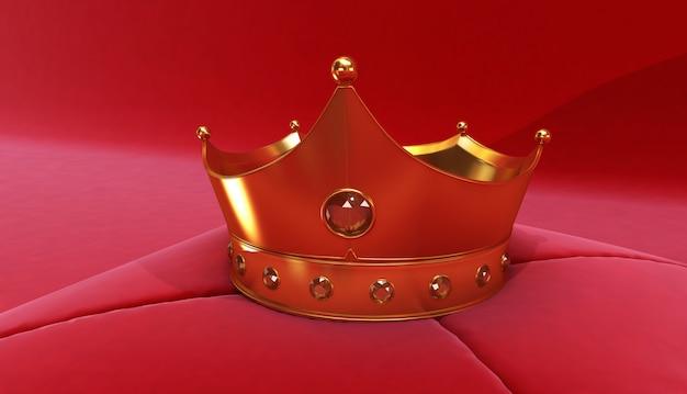 Rappresentazione 3d della corona dorata su un fondo rosso, corona reale dell'oro sul cuscino