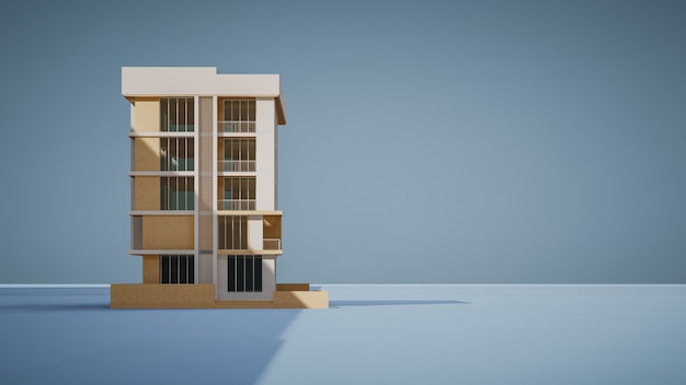 Rappresentazione 3d della costruzione commerciale con fondo blu