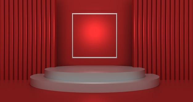 Rappresentazione 3d della forma geometrica astratta di colore rosso e bianco, esposizione moderna del podio minimalista