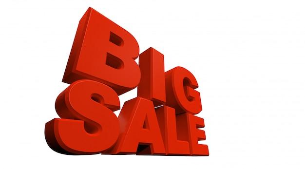 Rappresentazione 3d della grande vendita del testo isolata su fondo bianco.