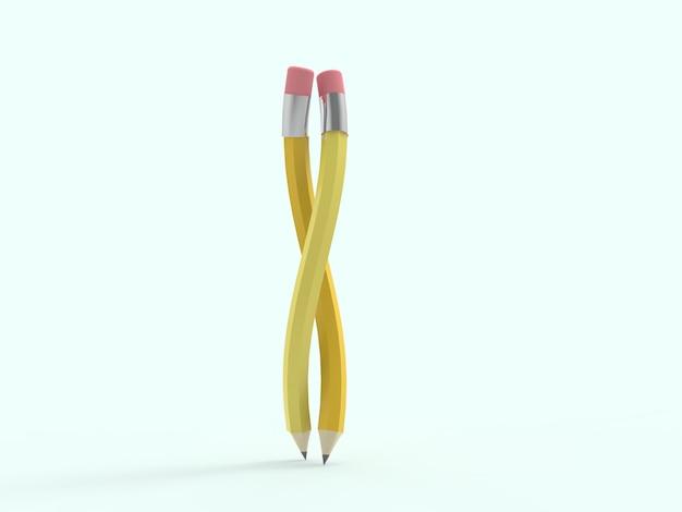 Rappresentazione 3d della matita di legno nella forma di torsione con la gomma rosa e la punta del metallo. matita di ispirazione sciolta. matita di grafite