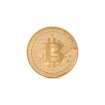 Rappresentazione 3d della moneta dorata del bitcoin su bianco