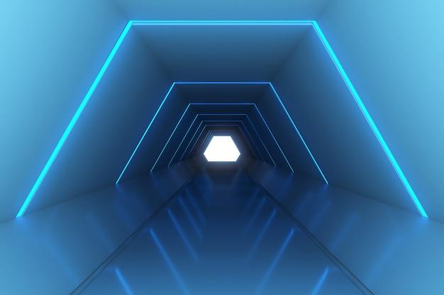 Rappresentazione 3d della progettazione illuminata della stanza, fondo futuristico con luce.