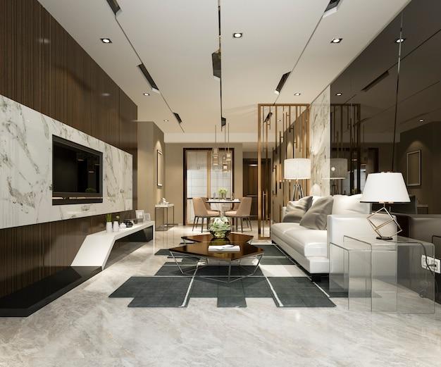 Rappresentazione 3d della sala da pranzo moderna di lusso della cucina