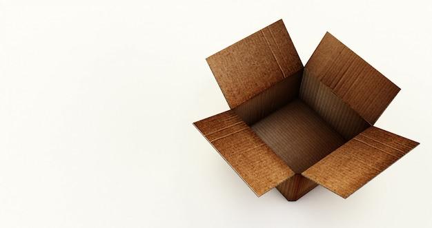 Rappresentazione 3d della scatola di cartone aperta isolata su una superficie bianca.