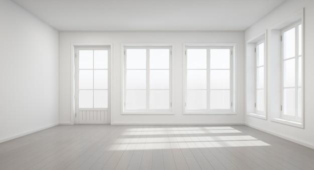 Rappresentazione 3d della stanza bianca d'annata con la porta e finestra nella nuova casa.