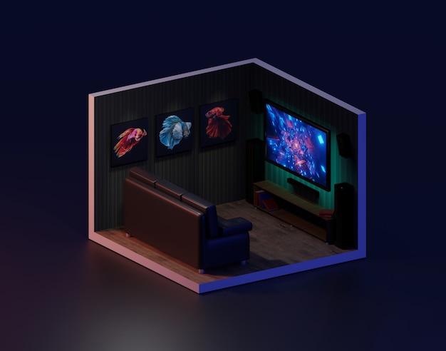 Rappresentazione 3d della stanza di film isometrica, illustrazione 3d.