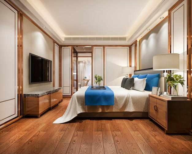 Rappresentazione 3d della suite di camera da letto blu di lusso bella in hotel con la tv