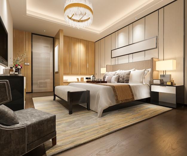 Rappresentazione 3d della suite di camera da letto moderna di lusso in hotel
