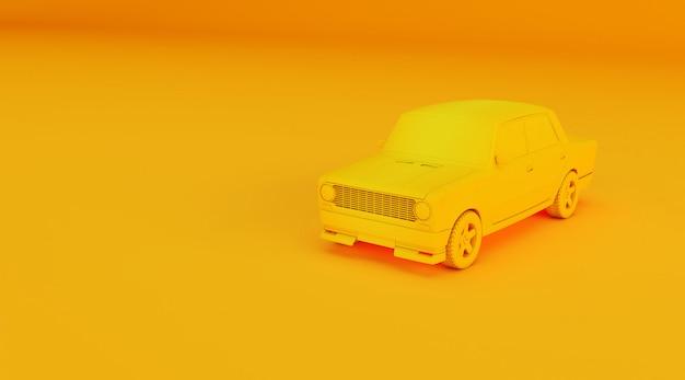 Rappresentazione 3d della vecchia automobile su superficie colorata