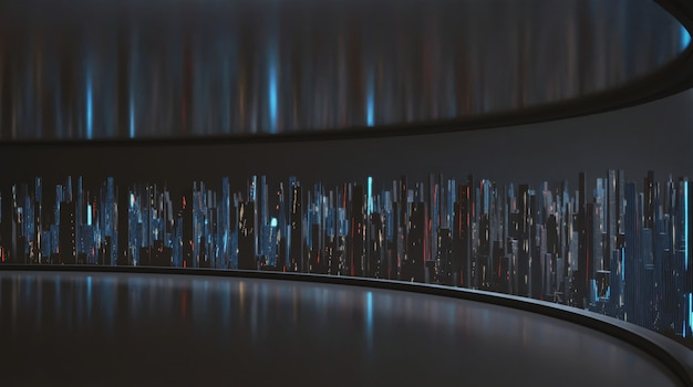 Rappresentazione 3d della vista grandangolare della città digitale astratta dalla grande stanza vuota del pannello della finestra.