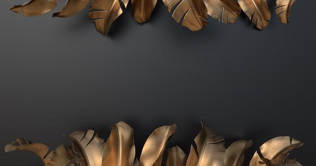 Rappresentazione 3d delle foglie della banana e del fondo nero.