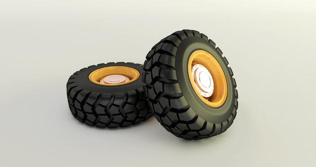 Rappresentazione 3d delle gomme di automobile isolate sulle ruote di automobile bianche messe.