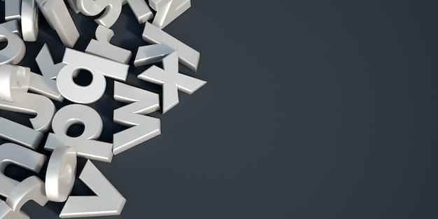 Rappresentazione 3d delle lettere di alfabeto bianco perla su una superficie nera