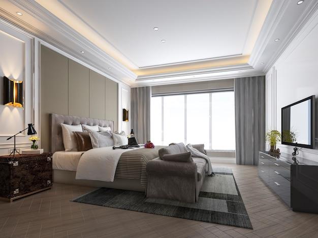 Rappresentazione 3d di bella serie di camera da letto di lusso in hotel con la tv