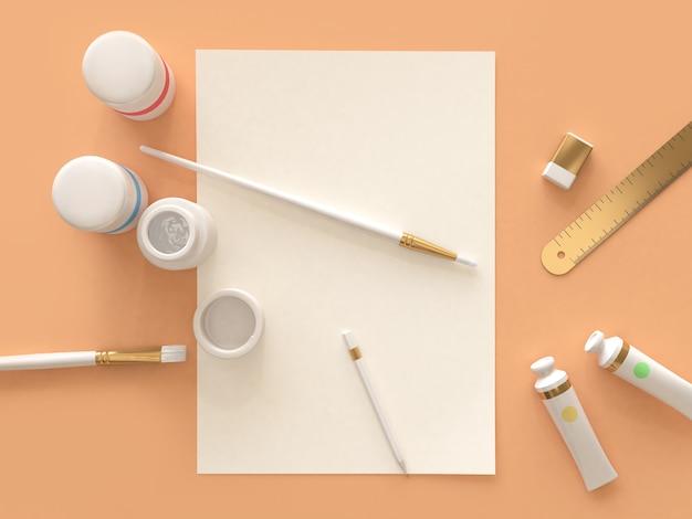 Rappresentazione 3d di disposizione superiore del pavimento arancio dell'attrezzatura di arte
