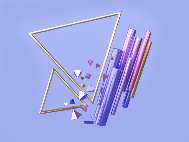 Rappresentazione 3d di galleggiamento della struttura del triangolo di forma geometrica dell'oro rosa blu e porpora